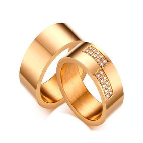 Par Alianças 8mm Banhada Ouro Noivado Casamento Grossa Pedra