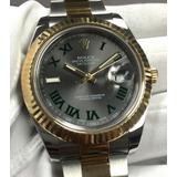 Relógio Datejust 2 Silver E Ouro + Caixa E Documentos