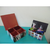 Caja Cajita De Te 4 Fibrofacil Decorados Decoupage Artesanal
