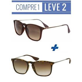 Oculos De Sol Rayban Chris Tartaruga + Marrom   Frete Gratis 11889ee69c
