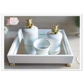 Kit Higiene Bebe Porcelana Coroa Rei Rosa Flor Passarinhos