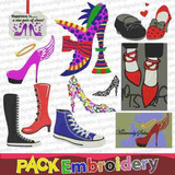 Zapatos Set 11 Diseños Para Maquinas Bordadoras Patrones