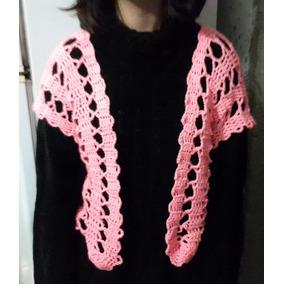 Chaleco Tipo Torerita, Tejido A Crochet, Color Salmón.