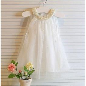 Vestido Infantil Pérolas Tule Com Leve Defeito Novo