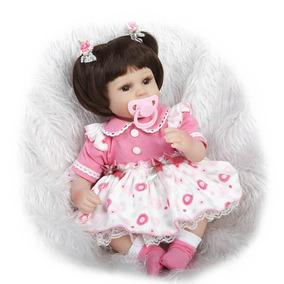 Bebê Reborn Silicone/tecido- Vestido Rosa (pronta Entrega!!)