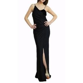 Vestido Largo Con Tajo Y Espalda Descubierta, Brishka V-0019