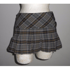 No Boundaries Minifalda Gris A Cuadros Tableada Talla 7