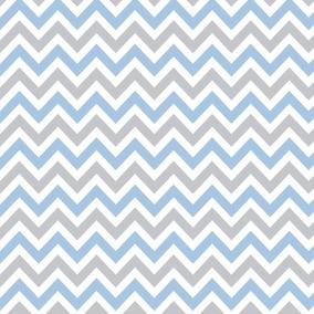 Papel De Parede Autocolante Chevron Azul, Branco Cinza 21