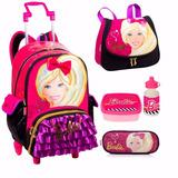 Kit Mochila Barbie Rodinhas 16z Bolsa + Lancheira + Estojo G