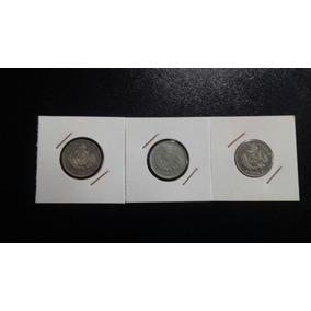 3 Moedas De 50 Réis Cúpro Níquel Do Império 1886/87/88 Linda