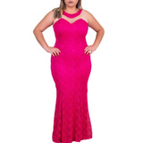 Vestido Sereia Plus Size, Longo De Renda, Com Bojo