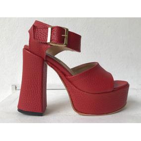 Sandalias Con Plataforma Boca De Pez Color Rojo Nuevas