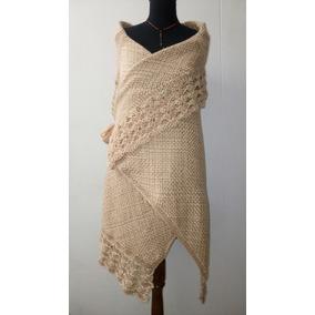 Ruana Con Sisa Tejido Telar Crochet Lana