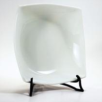 Plato Hondo Cuadrado De Porcelana Blanca 19,5cm
