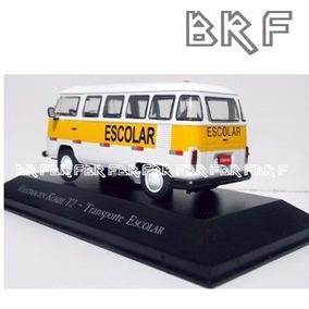 Miniatura Carro Kombi Escolar Coleção Escala 1/43 Antigos