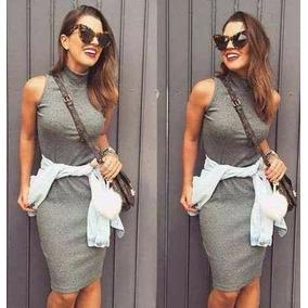 Vestido Feminino Tubinho Gola Alta Moda Blogueira