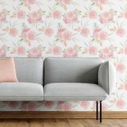 Papel De Parede Adesivo Floral Rosas Aquarela N05078 Rolo De