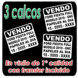 3 Calco Vendo Auto Sticker Vinilo Plotter De Corte