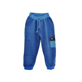 Pantalón Jogger Con Puño Azul