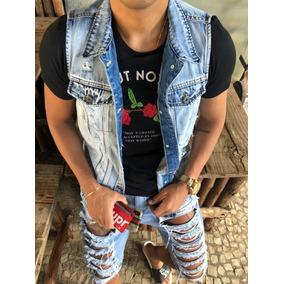 Colete Jeans Masculino Destroyed Slim Fit Frete Grátis