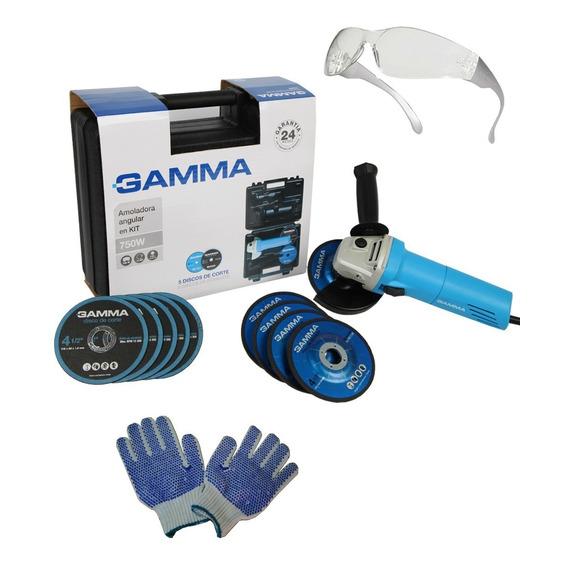 Amoladora Angular Gamma 115mm 750w Maletin + Discos Regalos
