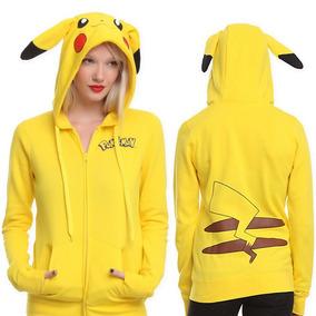Sudadera Hoodie Pikachu Pokemon Cosplay Dama Mujer Suave