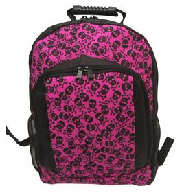 Mochila Escolar Reforçada Porta Laptop Estampa Caveiras Rosa