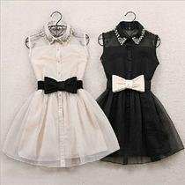 Blusas Vestido Gasa Encaje Correa - Leblanc Store