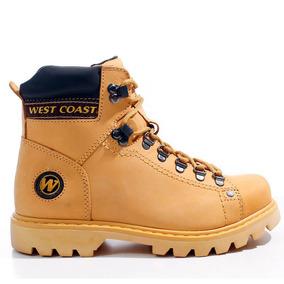 Bota Coturno West Coast Worker Amarela 5790 Couro Natural