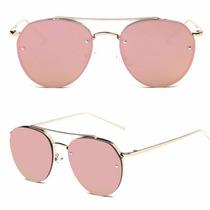 Óculos Sol Aviador Rose Azul Rosa Espelhado Gatinho Redondo