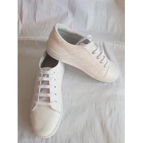 Zapatilla Cuero Blanco Blanca