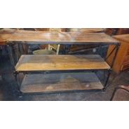Mueble Consola Hierro Madera Estante - Antig La Rueda _ L R
