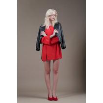 Vestido Corto Con Mangas Largas Crepe Rojo Drole