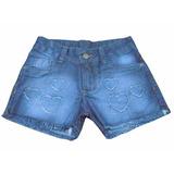 6 Shorts Jeans Juvenil Feminino Azul - Detalhes De Coração