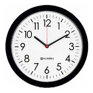 Relógio De Parede Eurora Cozinha Sala Preto 28cm 6575