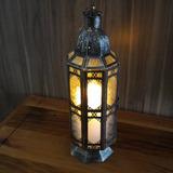 Lanterna Indiana Grande Metal Vidro Cor Cobre + Vela Led