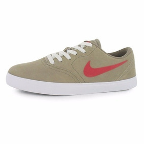 Zapatillas Nike Sb Check Beige Pipa Roja Original Hombres