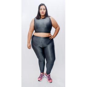 Conjunto Fitness Ikat Plus Size-legging+top Cropped+brinde