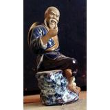 Chinoiserie Figura Porcelana Pescador - Rotura En Sombrero Y