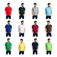 3 Camisetas Masculinas Malha Fria Coloridas Pv Atacado