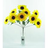 Buquê Girassol C/ 9 Flores Artificiais Artificial Amarelos