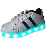 Zapatillas Blancas Con Luces Tipo adidas Unisex Usb Recarga