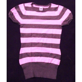 Remera Gap Gris Y Rosa, Talle Xs,tejida, Impecable!!