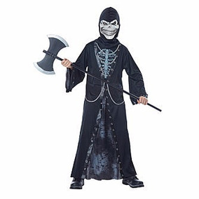Disfraz De Muerte Calavera Esqueleto Talla Large 8-14 Años