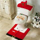 Jogo Banheiro Natalino Capa Vaso E Tapete Papai Noel Natal