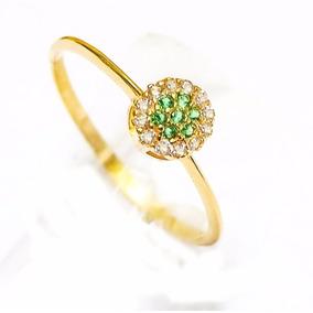 Anel De Ouro 18k De Formatura Com Diamantes E Esmeraldas Vj2