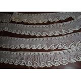 6.5 Mts.puntilla Tejida A Mano Algodon Crochet 9 Cm. De Anch