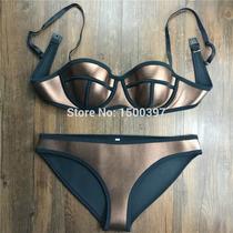 Bikini Traje De Baño Neopreno Pushup Plateado Oro Triangle