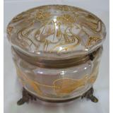 Gran Caja Polvera Bronce Y Vidrio Decorada Con Oro Sana Y