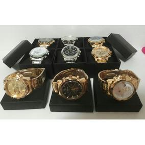 Kit Com 5 Relógios Masculino Dourado+caixa Lata Atacado